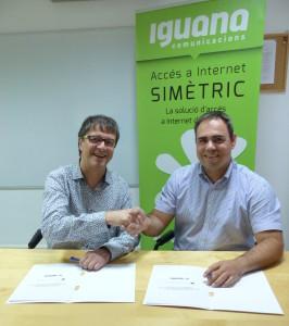 Lluís Segura, president d'Unicoop Cultural, i Víctor Quintana, director comercial d'Iguana